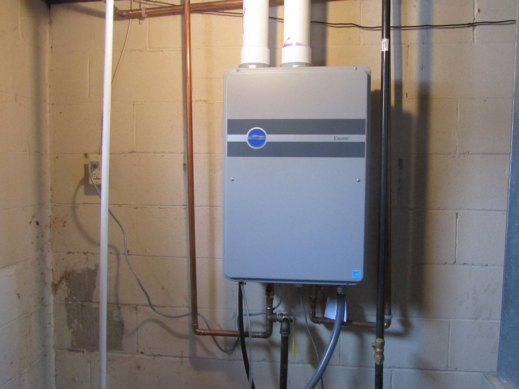 tankless water heater on wall